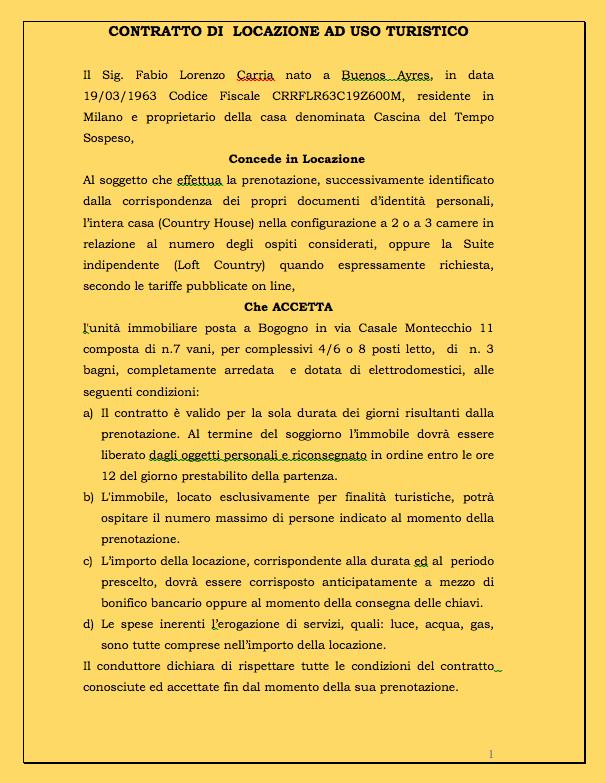 Info prenotazioni cascina del tempo sospeso for Contratto di locazione turistica